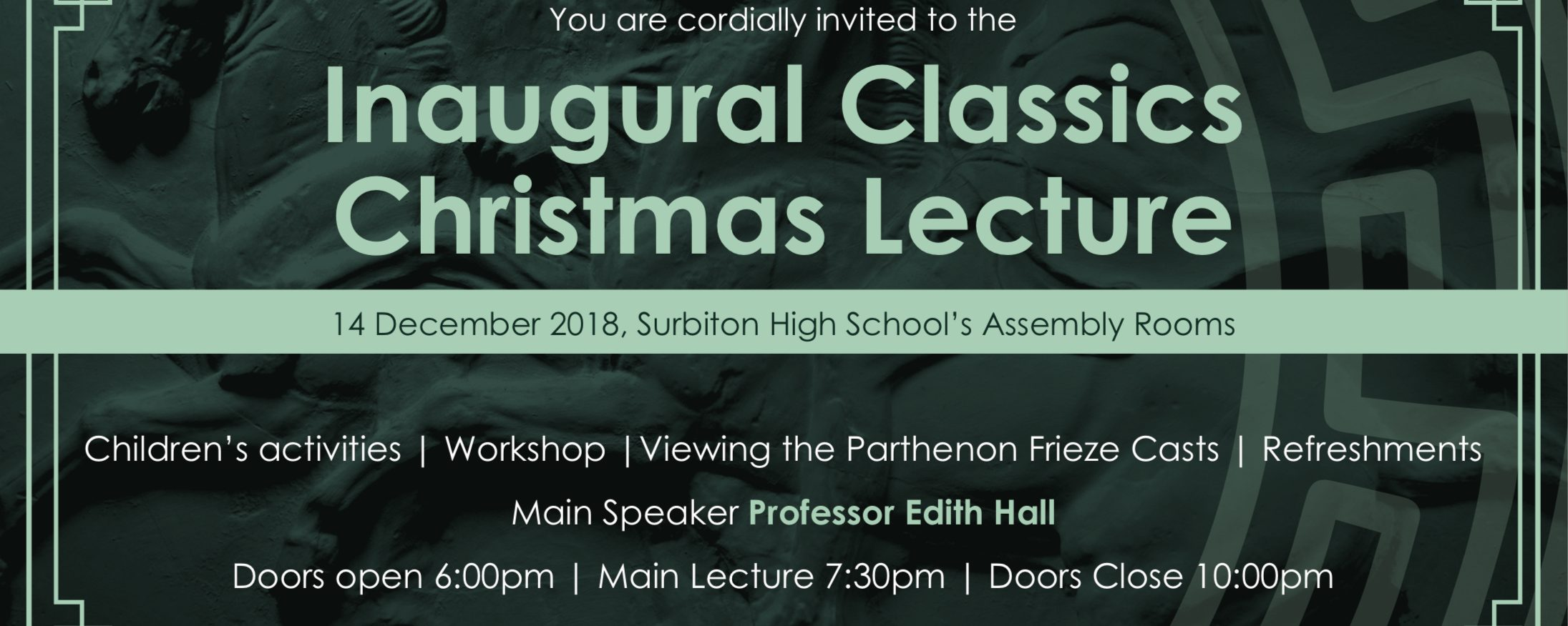 Inaugural Classics Christmas Lecture and Parthenon Cast Unveiling