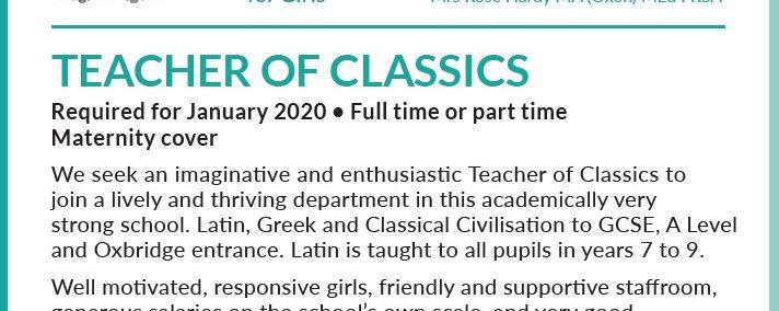 JOB   Teacher of Classics, Haberdashers' Aske's School for Girls