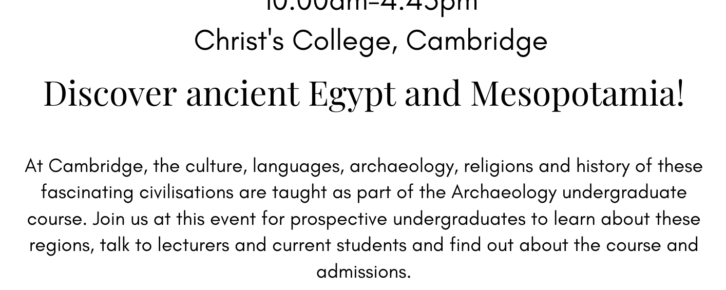 Egyptology and Assyriology Study Day at Christ's College